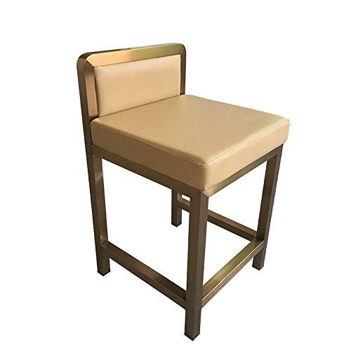 BJL-Barhocker Barhocker aus Schmiedeeisen - quadratischer Stuhl aus Edelstahl hoher Hocker, kein Sessel, Rückenlehne Hocker aus Leder, Bar-Coffeeshop-Stuhl / 21 '' hoch OYO