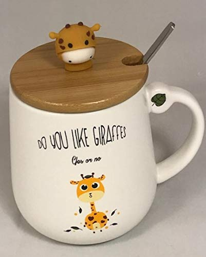 Giraffe104 - Giraffe Coffee Mug 13 Oz, Giraffe Coffee Mug Cup with Lid and Stainless Steel Spoon for Coffee Tea Milk