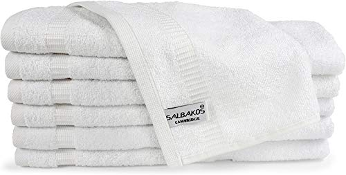 SALBAKOS Turkish Cotton Hotel & Spa Washcloths - Shower | Toallas De Baño, 13 by 13 Inch, Pack of 12, White