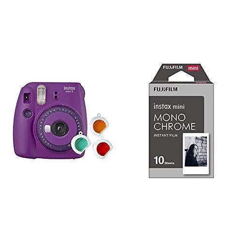 Fujifilm instax Mini 9 Kamera mit Farblinsen, lila & Mini Frame WW1 Monochrom, Bunt