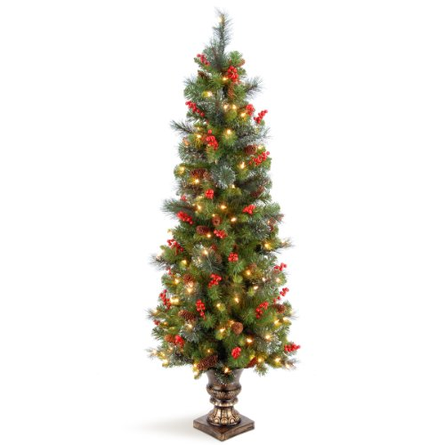 National Tree Company Pre-lit Artificial Christmas Tree For Entrances   Includes Pre-strung White Lights and Stand   Crestwood Spruce - 5 ft