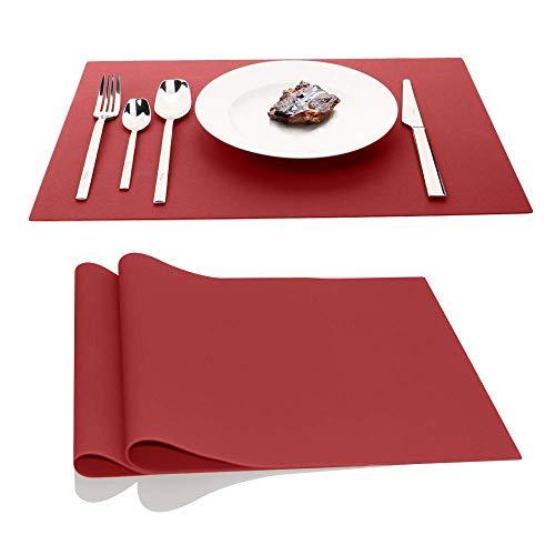 Grands tapis en silicone, napperons de table AINIMI Protection de comptoir, résistants à la chaleur, antidérapants, épais, 17,7 x 12,6 pouces, ensemble de 2 (Rouge)