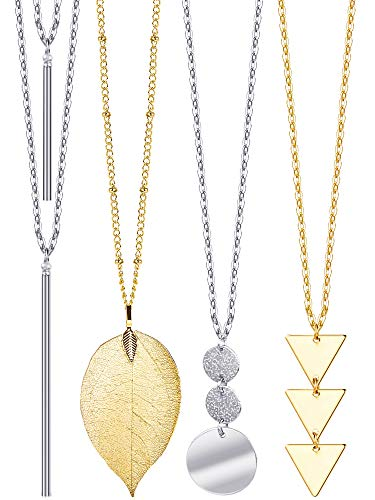 4 Pieces Long Pendant Necklace Set, Layer Simple Bar Necklace Tassel Y Strands for Women (Style 2)