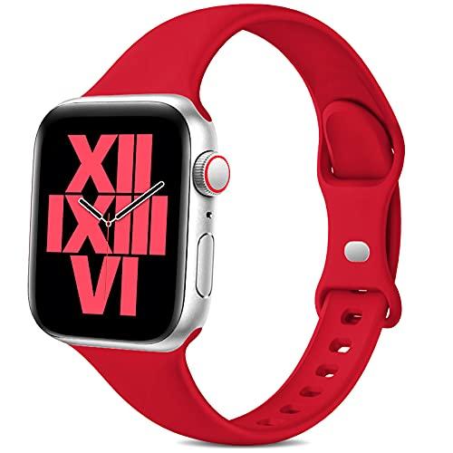 Jiamus Pulsera compatible con Apple Watch, 38 mm, 42 mm, 40 mm, 44 mm, silicona suave, correa fina de repuesto para iWatch Series 6 5 4 3 2 1 SE para hombre y mujer (42/44 mm rojo)