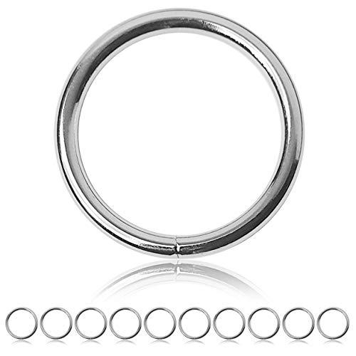 Ganzoo O - Ring Stahl, 10 Stück, 47mm außen, geschweißt Nicht-rostend, für Paracord 550