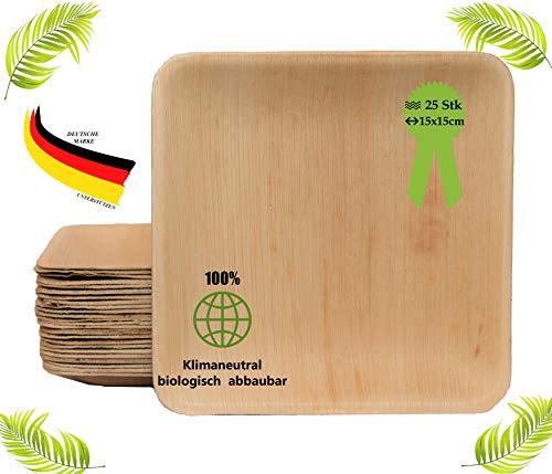 BIOQUQ Bio Einwegteller aus Palmblatt  15x15cm, 25Stück  Palmblattgeschirr biologisch abbaubar Einweggeschirr