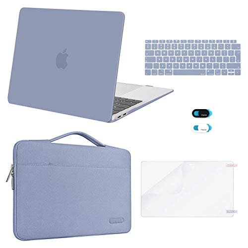MOSISO MacBook Air 13 inch Case 2020 2019 2018 Release A2337 M1 A2179 A1932,Plastic Hard Case&Bag&Keyboard Skin&Webcam Cover&Screen Protector Compatible with MacBook Air 13 inch Retina, Lavender Gray