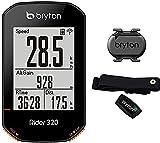 Bryton Rider 320T Ciclo Computer GPS, Display 2.3' con Sensore Cadenza e Fascia Cardio, Nero
