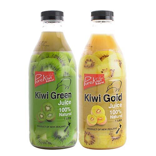 Pure Kiwi Natural ニュージーランド産 グリーン・ゴールドキウィジュース 1000ml x 合計2本ミックスセット <ストレート果汁100%使用 無加糖・防腐剤・合成着色料不使用>