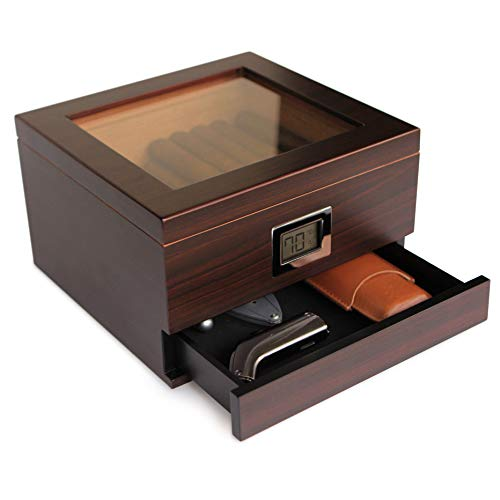 Glass Top Handcrafted Cedar Humidor with Front Digital Hygrometer, Humidifier Gel, and Accessory...