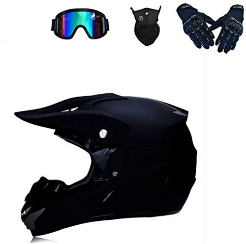 XIAOL Motocross Helm mit Brille, Unisex Fullface Cross Helm Downhill Quad Enduro ATV Motorrad Schutzhelm für Herren Damen, Road Motorradhelm Crosshelm Set Handschuhe Maske (L)