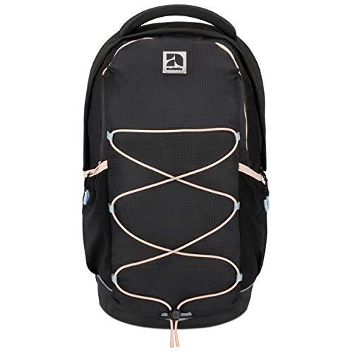 AUDETIC Schulrucksack Mädchen, Jungen, Teenager Schwarz/Rosa AERO Ergonomischer Schulranzen aus Recycelten PET Flaschen - Nachhaltiger Rucksack für Schule, Freizeit, Reisen - Wasserabweisend