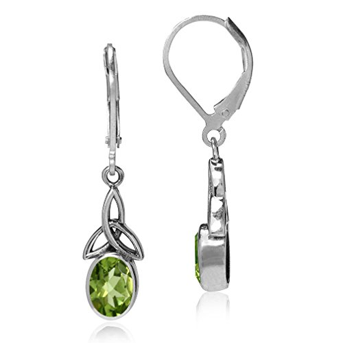 Silvershake 1.58ct. Natural Peridot 925 Sterling Silver Triquetra Celtic Knot Leverback Dangle Earrings