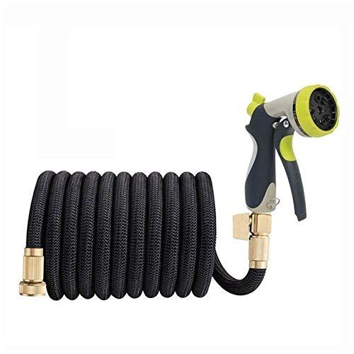 Weigeng Tuyau d'arrosage extensible télescopique 3 fois flexible haute pression pour lavage de voiture, noir