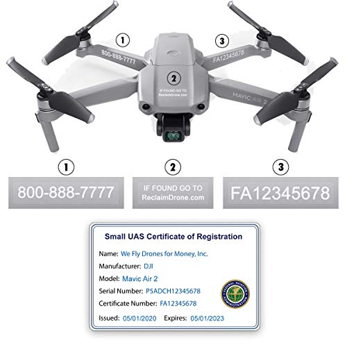 Mavic Air 2 - DJI - FAA Drone Identification Bundle - Labels (3 Sets) + FAA UAS Registration ID Card for Commercial Pilots + Optional Battery Labels