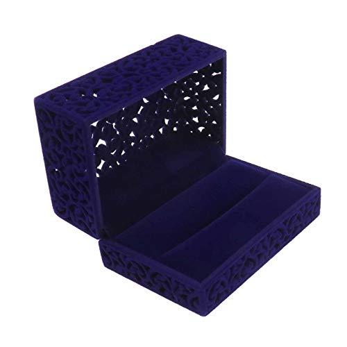 Yinettech - Anillo doble de terciopelo azul para boda, compromiso, joya artística, cómoda, romántica clásica