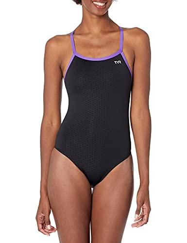 TYR Women's Hexa Diamondfit Swimsuit, Black/Purple, 34