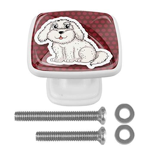 Perillas para gabinetes de vidrio Perro Mapa con efectos visuales en 3D Tiradores de puerta de armario de tocador de diseño colorido (4 piezas) 3x2.1x2 cm