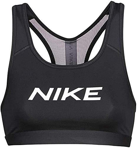 NIKE Swoosh Sports Bra, Negro/Blanco, XS Womens