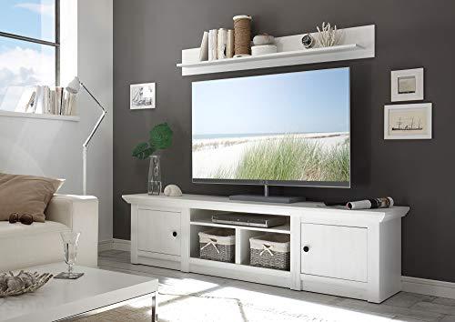 Newfurn TV Lowboard Landhaus TV-Schrank Fernsehtisch Rack Board II 194x51x 45 cm (BxHxT) II [Max.Ten] in Pinie Weiß Nachbildung/Pinie Weiß Nachbildung Wohnzimmer Schlafzimmer