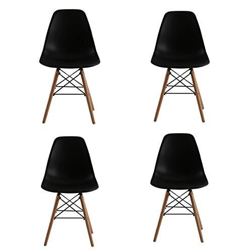 Naturelifestore 4 x Designer Kunststoff Stuhl Polypropylen und ausBuchenholz, Wohnzimmerstuhl Esszimmerstuhl Bürostuhl (schwarz)
