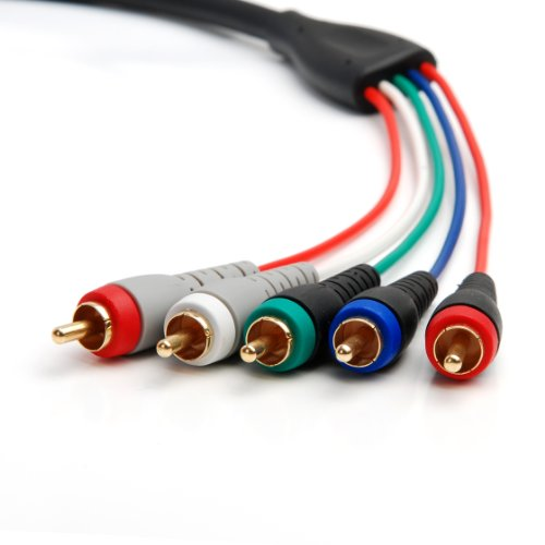 BlueRigger RCA- 5 Cable (Component Video Cable with Audio, 6 Feet)