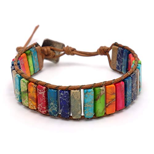 Benava Women's Agate Gemstone Bracelet Colourful Boho Hippie Retro Jewellery with Silver Stainless Steel Pendant