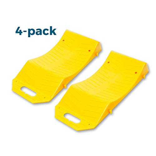 Zento Deals 4 Piece Tire Saver Ramps Premium Quality Wheel Protector, High Visibility, for Flat Spots Durable Plastic Material, Flat Tire Prevention, Easy to Store