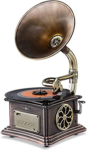 MEAGEAL Mini Record Player, Retro Phonograph Bluetooth Speaker, Vintage Gramophone, Vinyl Record Player Turntable with Copper Horn,Aluminum Body,3.5mm Aux-in,USB Flash Drive,FM Radio…