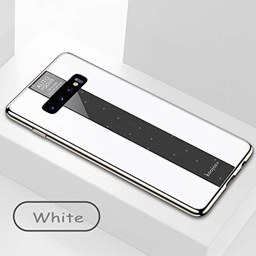 BELLA BEAR Glitter Case voor Samsung Galaxy S10 plexiglas + vergulde zachte rubberen aansteker en meer anti-val telefoonhoesje voor Samsung Galaxy S10, Samsung Galaxy S10, Kleur: wit