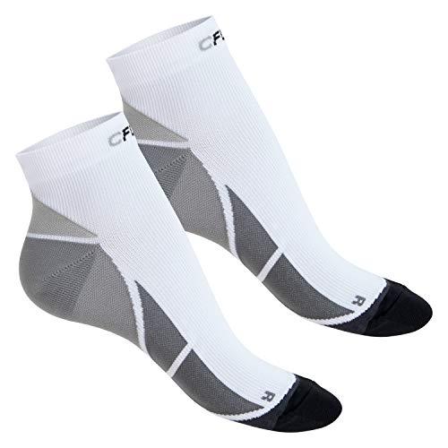 CFLEX Herren und Damen Sport Kompressionssocke (2 Paar), Kurzschaft Socken - Weiss-Grau 43-46