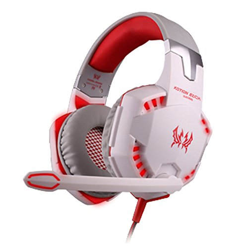 Cuffie Gaming, KOTION OGNI G2000 stereo di gioco in stile auricolare Over-orecchio con brillante luce del LED per gioco PC e cellulare(Bianco & Rosso)