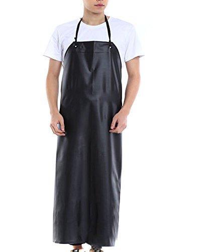 BESTCYC Men's Black Heavy Duty Waterproof Stain Resistant PVC Extra Long Apron for Kitchen Dishwashing Lab Butcher Fishing