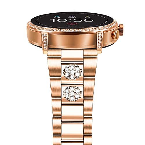 TRUMiRR Kompatibel Für Fossil Women's Gen 4 Venture HR Armband, 18mm Solide Edelstahl Uhrenarmband Metallband Armband für Withings/Nokia Steel HR 36mm, ASUS Zenwatch 2 Damen 1.45''