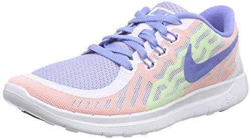 Nike Unisex-Kinder Free 5.0 (GS) Low-Top, Weiß (101 White/Chalk Blue-Volt), 36.5
