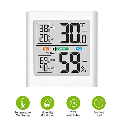 Brife Innen Thermometer-Hygrometer, Tragbarer Digitaler Temperatur- und Feuchtigkeitsmesser mit LCD-Display, Min/Max-Aufzeichnungen, genaues Thermo-Hygrometer für das Büro zu Hause(White