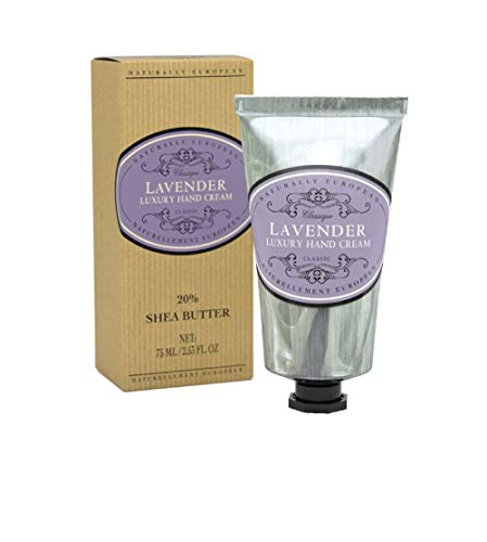 Naturally European Lavender Luxury Hand Cream Boxed 20% Shea Butter - 75ml | Combats Dry Skin For Those Hardworking Hands | Hand Cream, Hand Cream for Very Dry Hands, Shea Butter