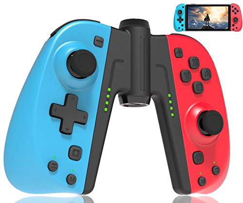 Maegoo Switch Manette Joycon sans Fil, Bluetooth Manettes Switch Joypad Gamepad Joysticks pour Nintendo Switch, Remplacement Joycon Switch avec Fonction Turbo Macro, 6-Axes Gyro, Double Shock