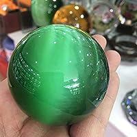 水晶球 50mmの天然石英緑の猫の目のクリスタルヒーリングボール球ホームルーム装飾飾りクリスタルボールフェスティバル誕生日プレゼント 装飾ボール