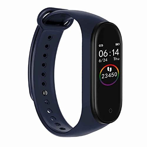 M4 Pantalla Colorida Pulsera Inteligente Podómetro Cuidado de la Salud Multideportivo Rechazo de Llamadas Reloj Inteligente de sueño Saludable (Blue)