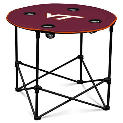 VA Tech Hokies Collapsible Round Table with 4 Cup Holders and Carry Bag, Red