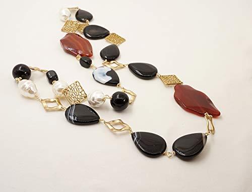 collana lunga pietre dure grosse onice e corniola, con perle di Maiorca e zama