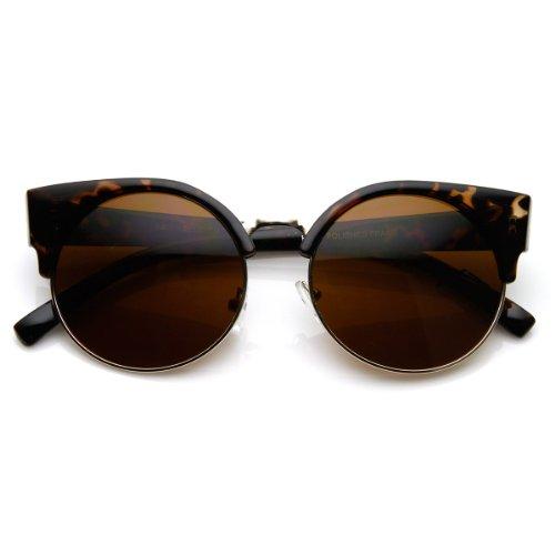 Round Circle Half Frame Semi-Rimless Cateye Sunglasses (Tortoise)