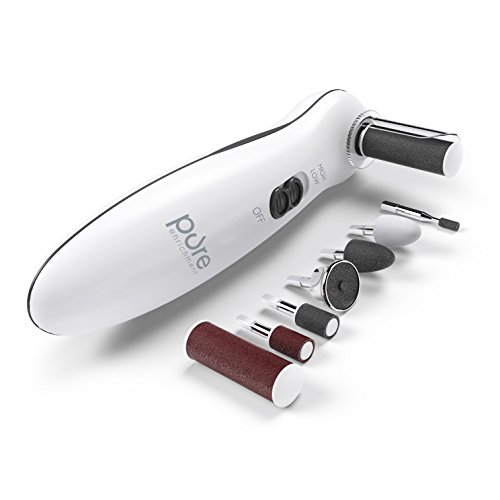 Pure Enrichment PurePedi Deluxe 10-Piece At-Home Professional Manicure and Pedicure Electric Nail File Kit - Cordless Electric Nail Drill and Callus Remover Tool with Protective Cap