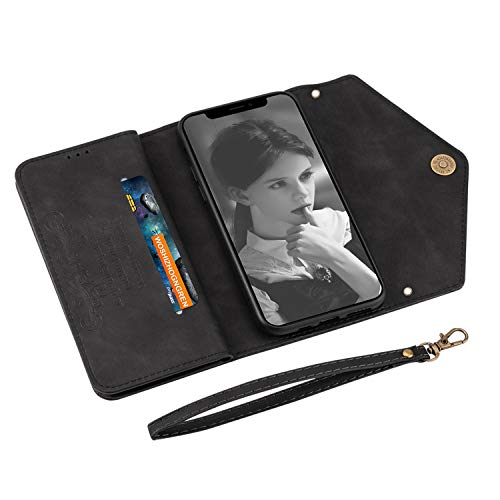 UKDANDANWEI iPhone 12 Pro Max Case, PU Leather Flip Case Dual Folio Card Slot Sleeve Housing with Wrist Strap Magnetic Stand Case Cover for iPhone 12 Pro Max -Black