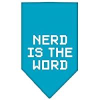 Mirage Pet Products 66-95 LGTQ Nerd is the Word Screen Print Bandana Turquoise Large