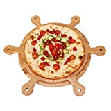 HAOXIANG Wood Pizza Peel, Pizza Paddle Set with 6 Cutting Guided Grooves for Uniform Slices - Kitchen Double-Sided Cutter Board for Wedding