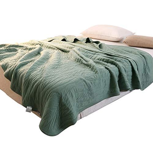 Colcha de punto patchwork de algodón para sofá cama individual o dormitorio verano para sofá autismo, insomnio, alivio del estrés, verde, 150*200cm