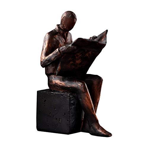 TEAYASON Sujetalibros retro para hombres y mujeres, sujetalibros decorativos de resina, extremos de libro, tapones, decoración para estanterías de 5,5 x 7,8 cm (color: un par), 1 pieza para hombre