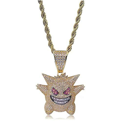 lulongyansf Hip Hop gefror heraus Strass-Kristall-Halskette Pokemon Halskette überzogen mit Killy Anhänger Gengar Kette mit 24